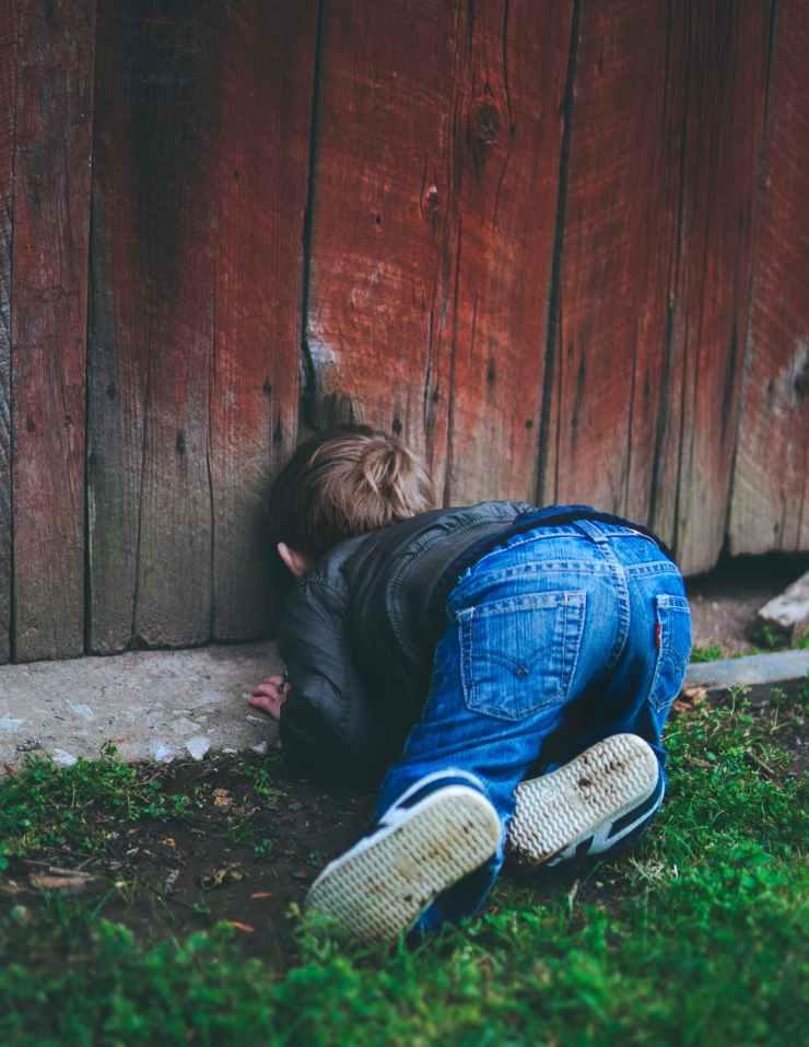 photo of boy peeking on brown wooden fence